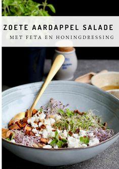 Zoete aardappel salade met feta en honingdressing - Beaufood