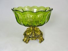 Vintage Green Glass Compote Brass Metal by TwoCousinsCollection