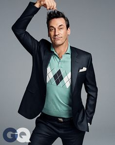 Jon Hamm. Polo shirt by David Hart. Suit by Calvin Klein Collection. Pocket square by Faconnable.