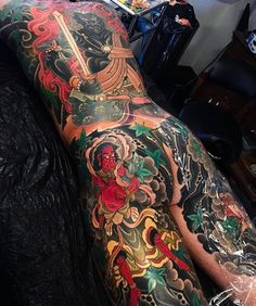 Japanese back tattoo by Asian Tattoos, Hot Tattoos, Black Tattoos, Body Art Tattoos, Tattoos For Guys, Japanese Back Tattoo, Japanese Dragon Tattoos, Japanese Tattoo Designs, Yakuza Style Tattoo