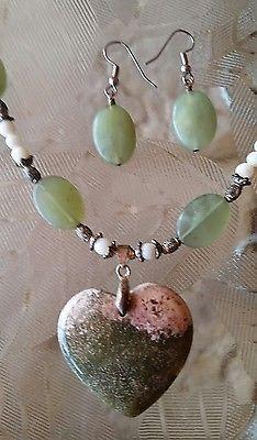 Ocean Jasper Heart Pendant Necklace & Earring Set