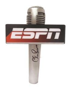 Chris Berman Autographed Pyle Full Size Microphone w/ ESPN Mic Flag, Proof Photo. This is a brand-new Chris Berman autographed Pyle full size microphone featuring ESPN microphone flag! Chris signed the mic in black sharpie.Check out the photo of Chris signing for us. ** Proof photo is included for free with purchase. Please click on images to enlarge. Please browse our websitefor additional Hollywood & Celebrityautographed collectibles. 1  Notable Career Work:   ESPN Sportscenter Anchor…