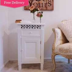 Isabelle White Bedside Cabinet : Beau Decor french shabby chic styling