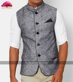 Sleeveless Nehru jacket by Jivjeet Singh on Indianroots.com