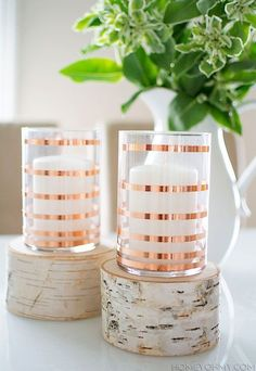 Rose Gold Striped Candle Holders / http://www.deerpearlflowers.com/bronze-copper-wedding-color-ideas/2/