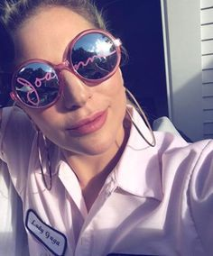 0ad0324a9748a Lady Gaga is wearing joanne pink sunglasses by Lady Gaga Lady Gaga  Sunglasses