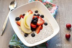 Easy chia seed pudding recipe Serves 2  Ingredients:  1-1/2 cups vanilla coconut or almond milk 1/4 cup pure maple syrup 3 tablespoons chia seeds 1 tablespoon vanilla extract
