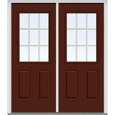 Milliken Millwork 66 in. x 81.75 in. Classic Clear Glass GBG 1/2-Lite 2 Panel Painted Fiberglass Smooth Exterior Double Door, Redwood