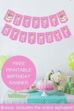"This super cute llama birthday banner would be such an adorable llama birthday decoration and add so much happy atmosphere to your llama party ideas. Includes llama ""happy birthday"" banner and llama alphabet letters banner, so you can easily customize this free printable llama banner with your child's name. Be sure to save this pin for later.  Head on over to our blog, VanahLynn.com to see our unicorn birthday food ideas and mermaid birthday decorations."