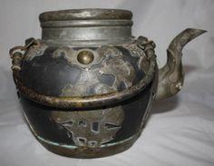 Chinese Qing Yixing Dark Zisha Pottery & Pewter Teapot