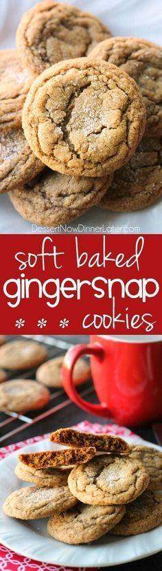 These Soft Baked Gingersnap Cookies are thick and chewy, and full of rich molasses, ginger, and spices for a wonderful Christmas cookie everyone will love!