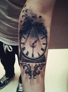 Amazing pyramid and watch forearm tattoo for men