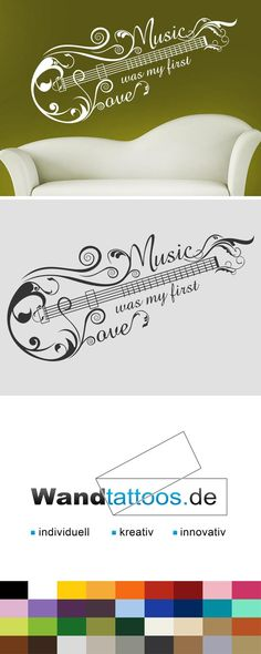 Wandtattoo Music first love als Idee zur individuellen Wandgestaltung. Einfach Lieblingsfarbe und Größe auswählen. Weitere kreative Anregungen von Wandtattoos.de hier entdecken!