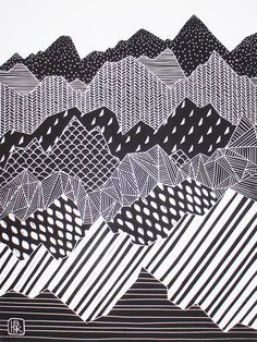 Linocut of a mountain range on white paper, featuring geometric shapes and patterns. This is a limited edition print which has been printed on