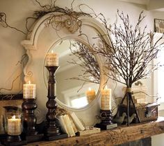 beautifully decorated mantle