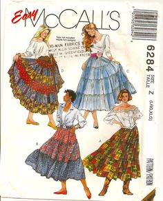 Misses Gypsy Style 3, 4 and 6 Tier Skirts Sewing Pattern