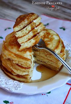 Eggnog Pancakes for holiday breakfast!