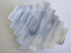 "Fused Glass Plate- Birch ""Step Up""- Medium"