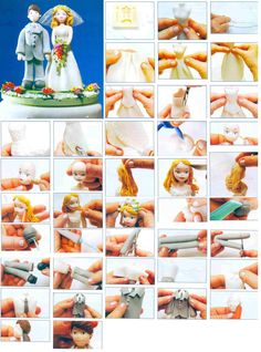 Bride and groom Fondant Toppers, Fondant Cakes, Cupcake Cakes, Fondant Figures, Tuxedo Cake, Sculpting Tutorials, Art And Craft Design, Fondant Tutorial, Sugar Craft
