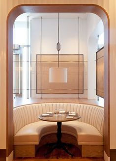 The luxury diner environment. Private banquette EDGE | AvroKo | Scandinavian tan leather