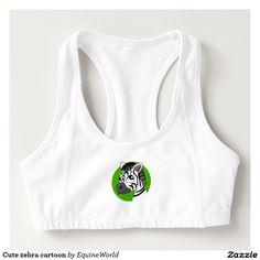 Cute zebra cartoon sports bra