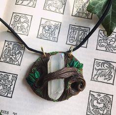 Misty Angel Aura Quartz  / Woodland Magic Hippie Enchanted Fairy Elf Witch Wicca Pagan Festival Boho - Polymer Clay Crystal Pendant