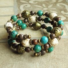Beaded Memory Wire Bracelet w/ Crimp Cover Ends