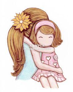 Baby nursery art mother daughter hug girls room art by rkdsign88, $15.00