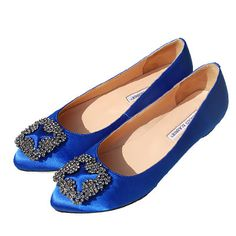 Manolo-Something Blue flats  These look like Carrie Bradshaw's stilletos from Sex and the City