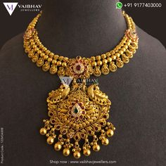 Delicate yet ornately inserted gems in this golden necklace are a part of an elegant collection. This antique gold necklace is classy and flawless for classy occasions. Check out our traditional, artistic and antique necklace designs here. Gold Bangles Design, Gold Earrings Designs, Necklace Designs, Gold Necklace Simple, Golden Necklace, Gold Temple Jewellery, Antique Jewellery Designs, Antique Necklace, Saris