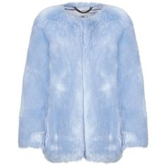 THP Shop Baby Blue Faux Fur Coat (€720) ❤ liked on Polyvore featuring outerwear, coats, jackets, blue, fake fur coats, cropped faux fur coat, faux fur coats, oversized coat and imitation fur coats