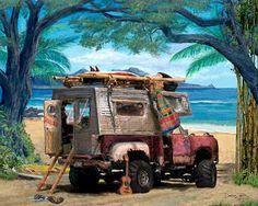 Dodge Pickup Truck Camper Art Print Poster
