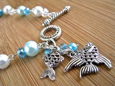 Beach Bling Aqua and White Pearl and Crystal by joyaslindas3
