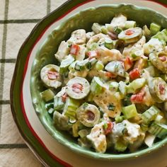 Shredded chicken salad with green olives, celery, and green onion recipe. Wonderful and colorful chicken salad that can be made with leftover rotisserie chicken Summer Salad Recipes, Summer Salads, Diet Recipes, Cooking Recipes, Healthy Recipes, Shredded Chicken Salads, Cooked Chicken, Leftover Rotisserie Chicken, Soup And Salad