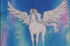 "Helios the white pegasus with unicorn horn from ""Sailor Moon"" series by manga artist Naoko Takeuchi."