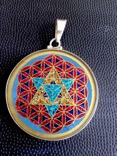 "MerKaBa Flower Of Life Turquoise Gemstone 1.3/16"" pendant Necklace Star Of David  | eBay"