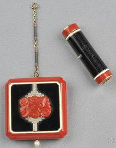 Suite; Art Deco, 14K Gold, Compact & Lipstick, Coral, Black Enamel & Diamond Melee, 2 inch.