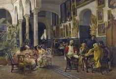 """Conversation in a sevillian courtyard"" José Jiménez Aranda #painting #art #twitart #followart #iloveart"