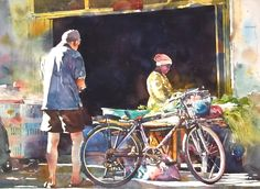Morning sunlight, watercolor by Chow chin Chuan. Mirror Painting, Bicycle Art, Painting People, Chow Chow, Watercolor Paintings, Watercolours, Local Artists, Gouache, Drawings