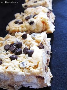 Avalanche Bars ...whoa!  White Chocolate Chips,   creamy peanut butter  Rice Krispies  and mini chocolate chips
