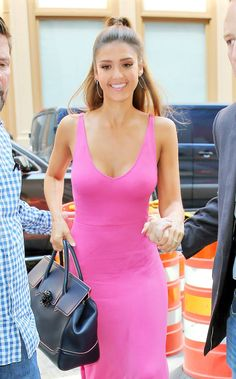 7b1c485701c5 Jessica Alba looks chic while out in NYC carrying her Bag in navy with pink  piping detail. Versace