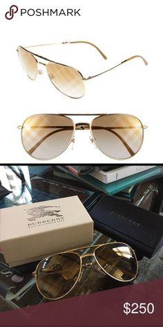 daae343a095e Burberry 57mm Aviator Sunglasses Gold Burberry aviator sunglasses.  Reflective with signature Burberry checks. Lightly