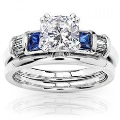 Cushion Moissanite Sapphire and Diamond Bridal Rings Set 1 1/2ct (ctw) in 14k White Gold_7.0 . Available at http://www.Brandinia.com