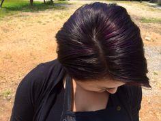 Dark brown with purple highlights. Aveda Covington. Model: Madeline. Stylist: Mindi.