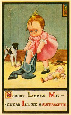 """Основная идея открыток: """"Если женщина голосует — мужчина страдает""""."""