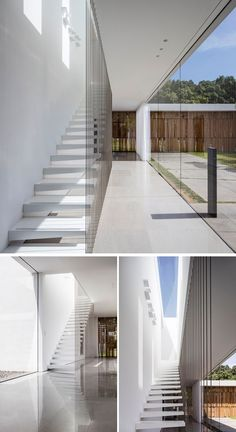 These white stairs lit by a skylight, and cables become a safety railings.