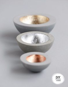 43 DIY concrete crafts - Metallic Plated Concrete Bowls- Cheap and creative projects and tutorials for countertops and ideas for floors, patio and porch decor, tables, planters, vases, frames, jewelry holder, home decor and DIY gifts. http://diyjoy.com/diy-concrete-crafts-projects