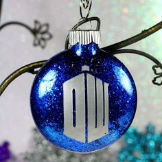 Doctor Who Christmas Ornament DW Tardis with by GlassBlastedArt, $7.00