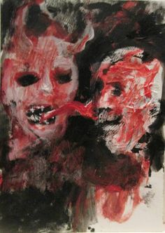 """Whispers"" , outsider art jack larson 3.5""x2.5"" art card"