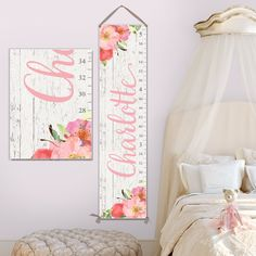 Natural Wood Boho Farmhouse Wooden Ruler Growth Height Chart Love Grows Here